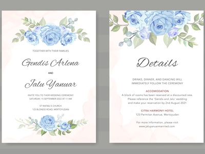 design wedding card with blue floral vector