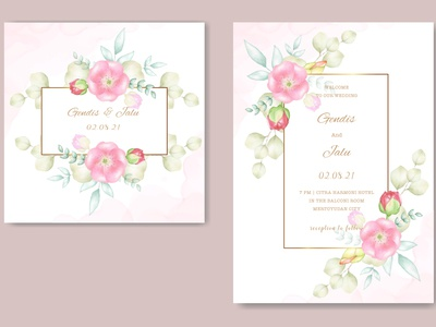 wedding card with floral watercolor