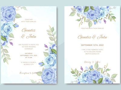 Wedding cards with beautiful watercolor flowers