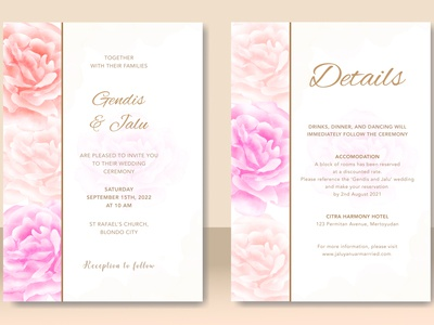 wedding card with beautiful floral watercolor