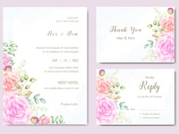 wedding card with beautiful floral watercolor  template