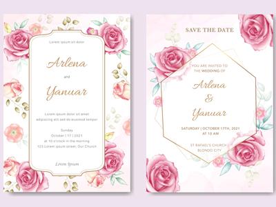 wedding invitation with watercolor floral vector