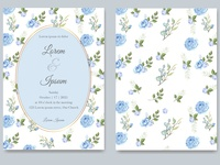 elegant wedding card with floral vector