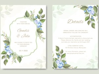 wedding card template with floral vector