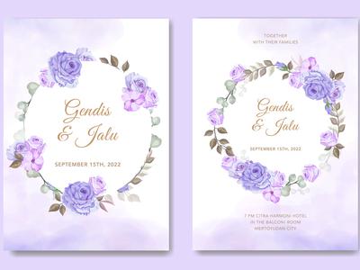 beautiful purple wedding card floral vector