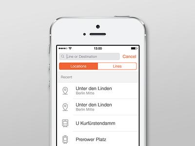 Moovit iOS App Redesign - Search light 5s ui clean redesign app ios moovit