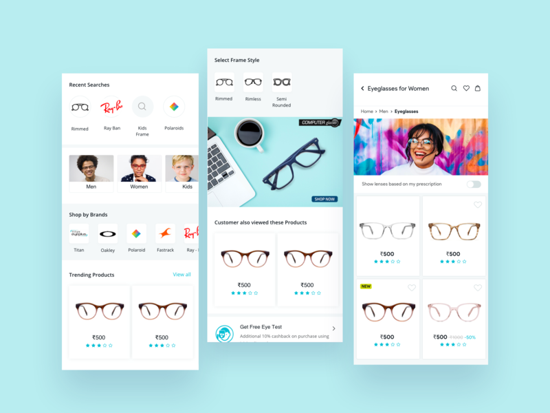 Products and Search Screen product page search screen search bar eyewear user experience uiux app app design ecommerce app application userinterface ux ui design