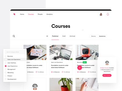 LMS - Courses screen userinterface ui design user experience interfacedesign product design product course uiux ux ui learning app learning management system learning platform learn