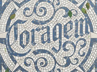 Coragem floor mosaic fauxsaic calçada joao neves nevesman type lisboa portugal lettering