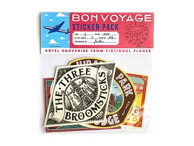 Bon Voyage Sticker Pack #1 vintage illustration portugal jurassic park harry potter luggage travel sticker nevesman neves hotel lettering