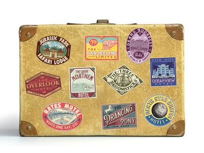Bon Voyage! travel luggage sticker stickers hotel illustration design vintage lisbon nevesman lisboa portugal lettering