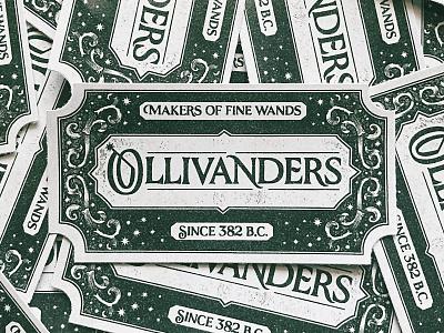 Ollivanders wizard wand label type vintage lettering sticker harry potter potter harry