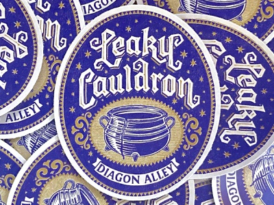 Leaky Cauldron nevesman lettering badge wizarding world wizard cauldron vintage sticker harry potter potter harry
