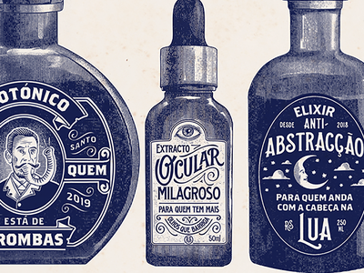 Remédio Santo portugal label packaging medicine bottle pharmacy apothecary vintage