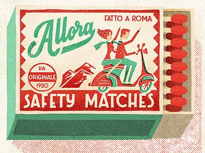 Allora Matchbox portugal lettering retro vintage scooter vespa matchbook matches matchbox italian