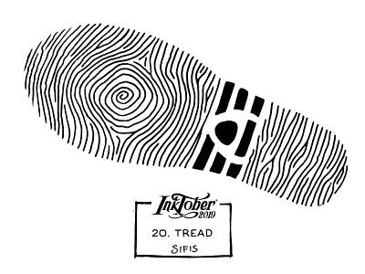20. Tread - Marker sketch tread fingerprint shoe marker sketch inktober 2019 inktober