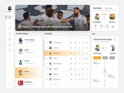 Sport Dashboard sport football dashboard soccer dashboard ui soccer dashboard concept design concept design ui ui design