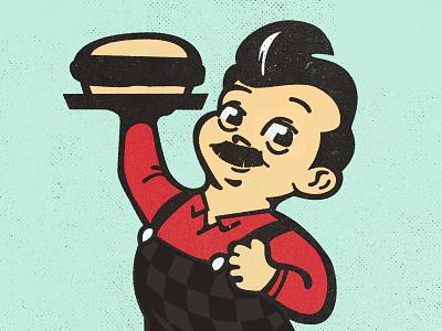 Big Ron burger portrait illustration big boy parks and rec ron swanson