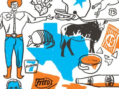 All About Texas cactus armadillo fritos queso whataburger longhorn dr pepper big tex dallas illustration mural texas