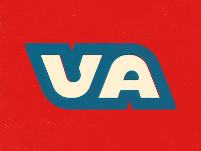 VA letter typography thick lines virginia va
