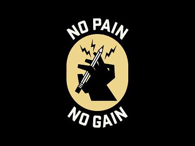 No Pain No Gain new year drawing logo typography mark badge illustration