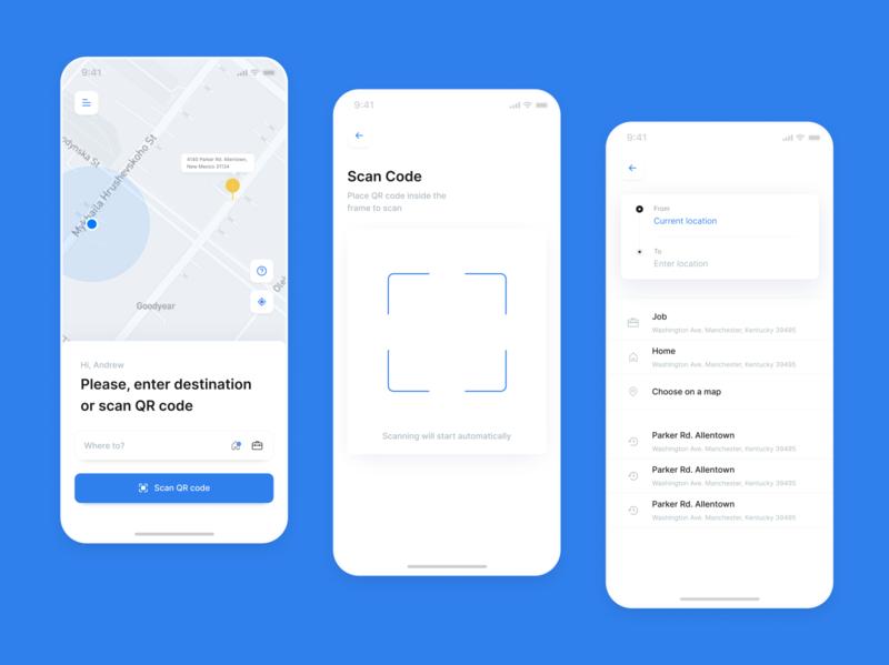 Self-driving taxi app taxi booking app job home destination location qr code scan self driving taxi app taxi app