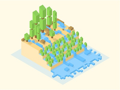 LOST RICEFIELD vector isometric