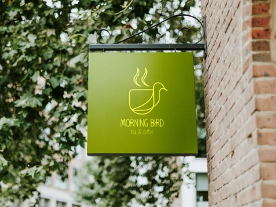 Morning bird illustration tea coffee logo design graphic design