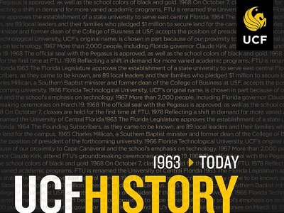 UCF Timeline Project infographic facts timeline dark typography design layout university ucf