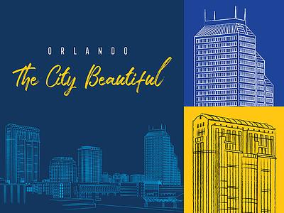 Orlando - The City Beautiful ciudad illustration drawn mco florida downtown sketch beautiful orlando city