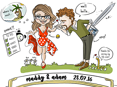 Personalised Wedding Art  couple funny wedding gift graphic design humour creative cartoon art wedding