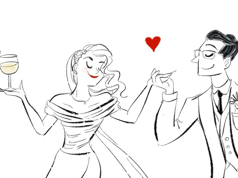 Friend's wedding drawing cartoon couple black-and-white pencil digital-art digital wedding-illustration illustration wedding