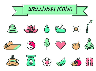 Collection of wellbeing / meditation icons