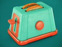 Cartoon styled toaster