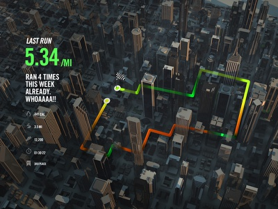 Run Data Exploration running nike miles map 3d c4d stats