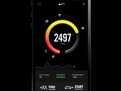 FuelBand in Black fuelband nike home mobile interface black graph data infographics