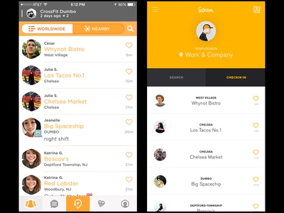 Swarm Redesign  feed yellow profile map location checkin redesign 100ui app swarm