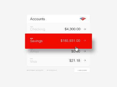 Bank of America Landing Page hoverstate red module money banking bankofamerica