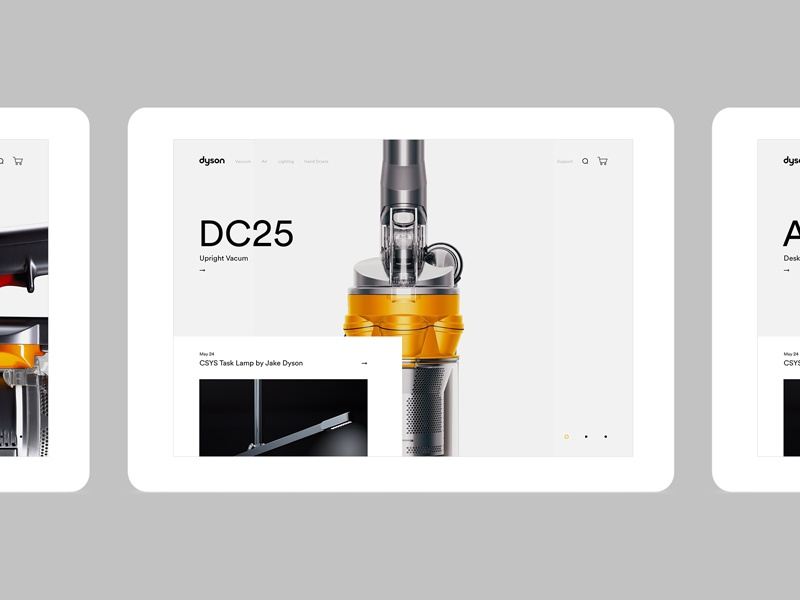 Dyson Home ipad white yellow vacum cleaner dyson homepage
