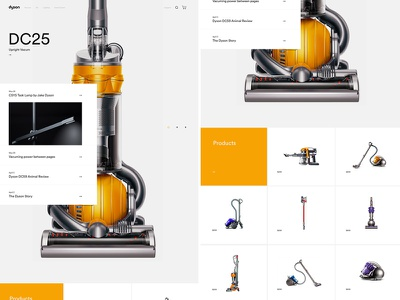 Dyson Home Detail products yellow minimal grids layout homepage dyson vacum