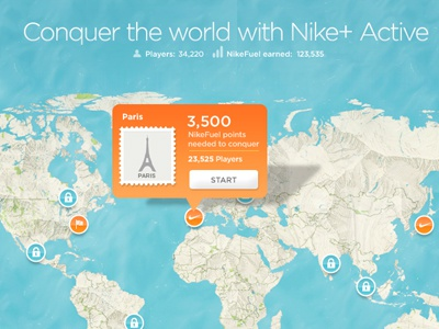 Conquer The World nike map ux pop up buttons