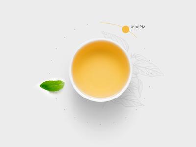Tea · Time branding dots time leaf clock tea