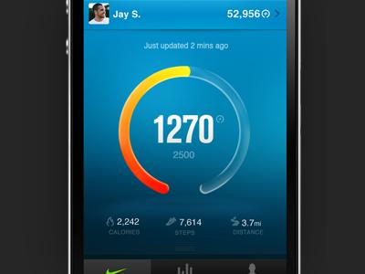 Nike+ FuelBand App application ios app infographics nike blue fuelband