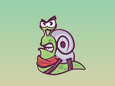 Snail with turbo scarf game character illustration belt strap turbo snail