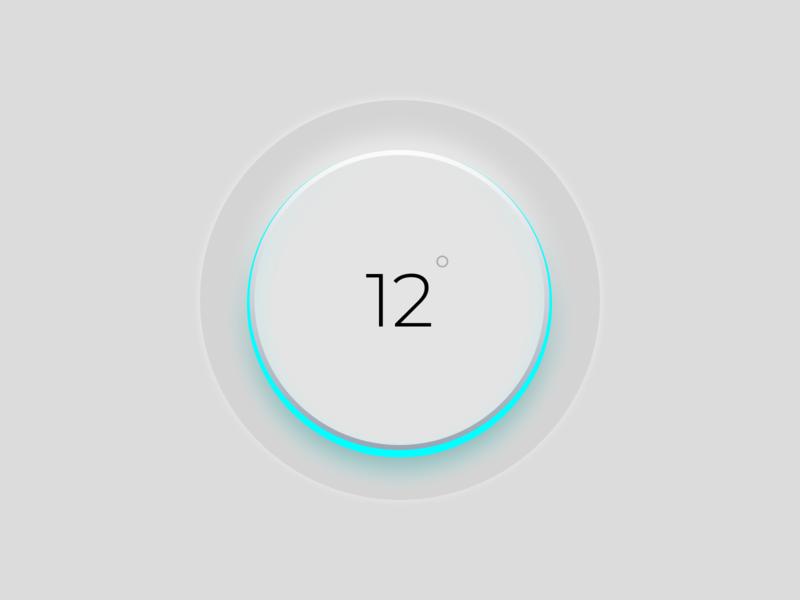 Thermostat Skeuomorphism UI