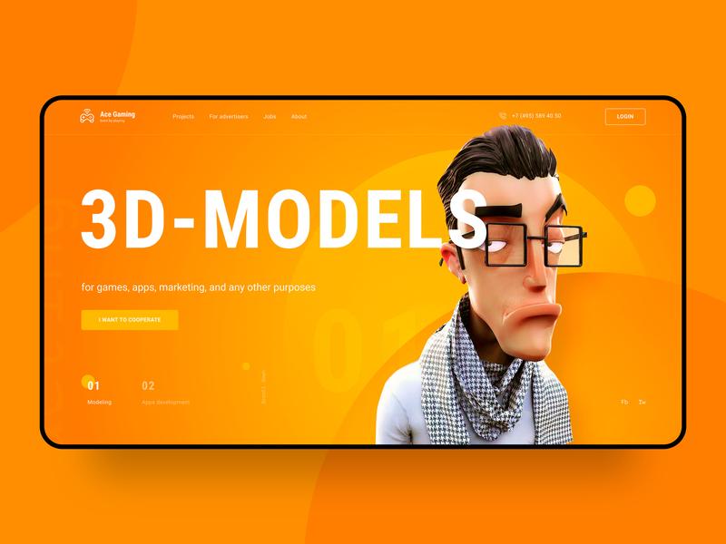 Ace Gaming hero screen hero web ui design