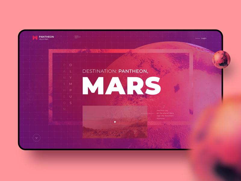 Treveling to Mars mars landing page hero ui design