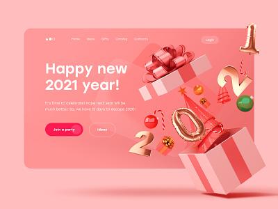 Happy 2021! illustration hero web ui design