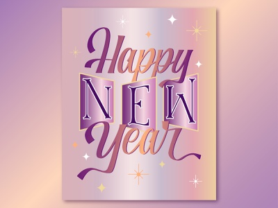 Happy New Year! lettering design vector adobe illustrator illustration graphic design lettering