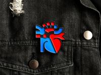 Heart icon enamel pin